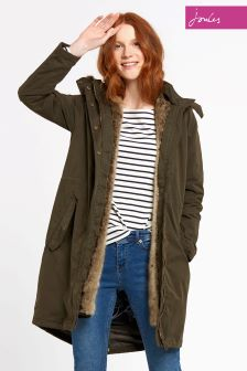 Joules Green Waterproof Faux Fur Brodie Parka