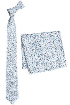 Flower Print Cotton Tie And Pocket Square