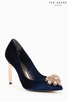 Ted Baker Navy Peetch Velvet Jewelled Pointed Court