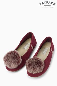 Fat Face Burgundy Suzie Suede Ballerina Slipper