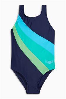 Sportowy strój kąpielowy w kolorowe bloki (3-16 lat)