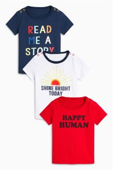 Slogan T-Shirts Three Pack (0mths-2yrs)