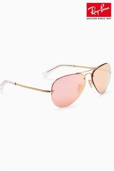 Ray-Ban® Rose Gold Mirrored Rimless Aviator Sunglasses