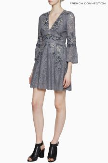 French Connection Grey Esme Shimmer Flared Dress