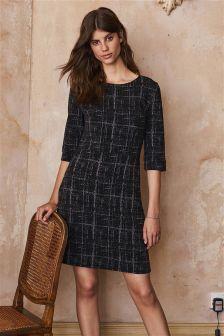 Kariertes Jersey-Kleid