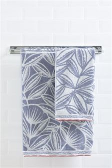 Blue Scandi Floral Towel