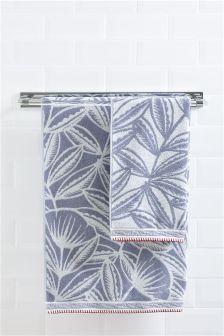 Serviette imprimé floral style scandinave bleue