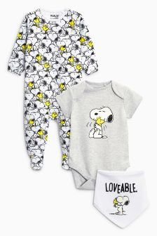 Snoopy Sleepsuit, Short Sleeve Bodysuit And Hat (0mths-2yrs)