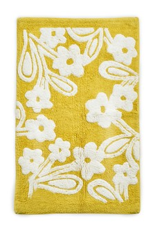 Yellow Floral Tufted Bath Mat