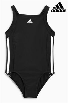 adidas Black 3 Stripe Swimsuit