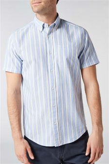 Short Sleeve Stripe Oxford Shirt