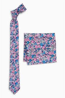 Printed Ditsy Floral Tie And Pocket Square Set