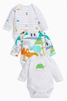 Animal Long Sleeve Bodysuits Three Pack (0mths-2yrs)