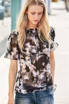 Floral Pleat Soft Blouse