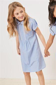 Платье на молнии в клеточку с кружевной отделкой (3-14 лет)