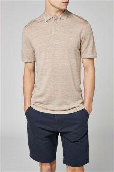 Poloshirt van wol-linnenmix