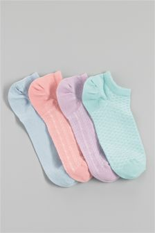 Textured Low Rise Socks Four Pack