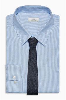 Cotton Fine Stripe Slim Fit Shirt With Tie