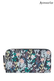 Accessorize Blue Flower Garden Large Zip Around Wallet