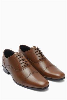 Фактурные туфли со вставкой на носке