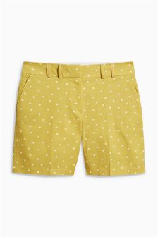 Cotton Blend Twill Shorts