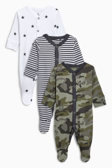 Star/Stripe Sleepsuits Three Pack (0mths-2yrs)
