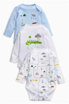 动物园动物图案长袖连体衣三件装 (0个月-2岁)