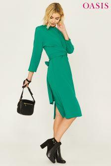 Oasis Green Wiggle Wrap Dress