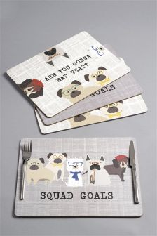 Set Of 4 Pugs & Co Placemats