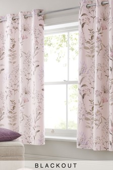 Soft Floral Blackout Lined Eyelet Curtains