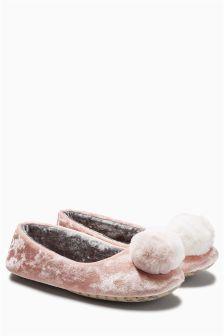 Velvet Pom Ballerina Slippers