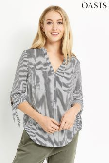Oasis Multi Tie Sleeve Stripe Shirt