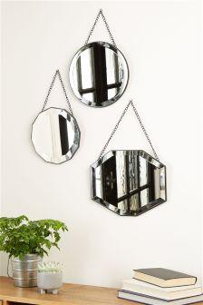 Set Of 3 Vintage Hanging Mirrors