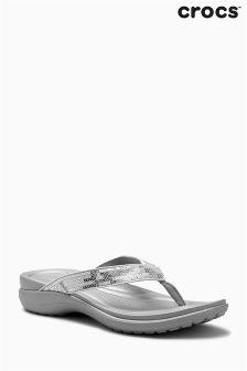 Crocs™ Silver Capri V Sequin Flip Flop