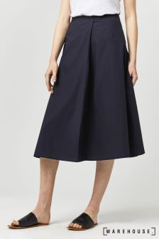 Warehouse Navy Full Cotton Midi Skirt