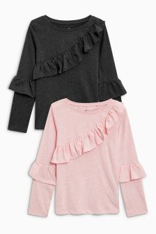 Ruffle Detail Long Sleeve Tops Two Pack (3-16yrs)