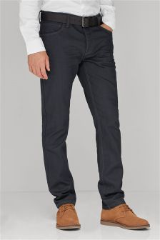 Coated Belted Jeans With Stretch