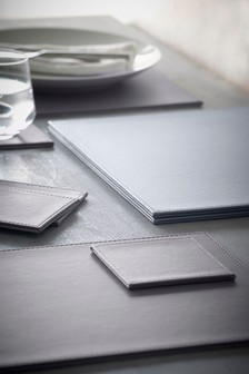 Set Of 4 Faux Leather Placemats And Coasters