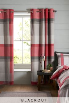 Large Check Blackout Lined Eyelet Curtains