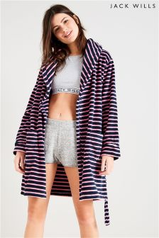 Jack Wills Pink/Navy Fluffy Dressing Gown