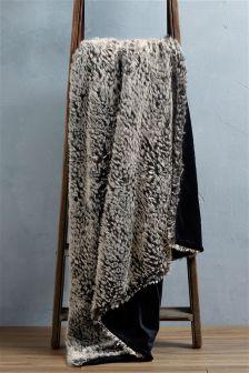 Monochrome Textured Animal Faux Fur Throw