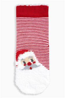 Fluffy Santa Socks One Pack (Younger Girls)