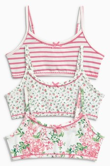 Pink                     Floral Crop Tops Three Pack (Older Girls)