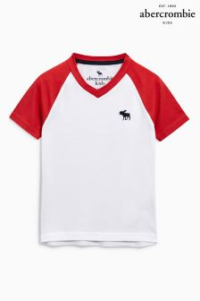Abercrombie & Fitch White/Red Raglan T-Shirt