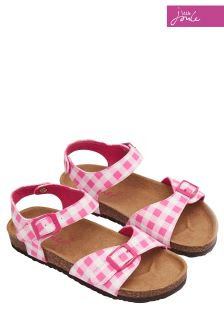 Joules Pink Gingham Tippytoes Sandals
