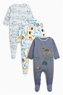 Jungle Animal Sleepsuits Three Pack (0mths-2yrs)