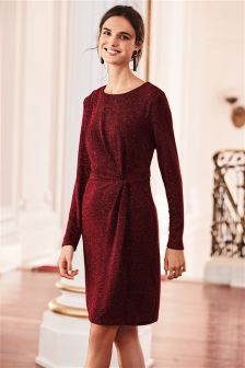Платье с перекрученной драпировкой и блестками