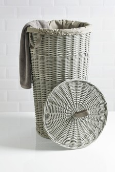 Grey Painted Willow Round Laundry Bin