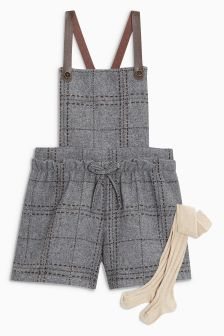 Faux Leather Strap Dungaree And Tights Set (3mths-6yrs)