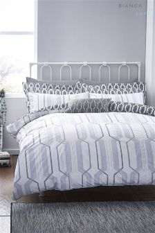 Bianca Grey Cotton Soft Geo Duvet Set
